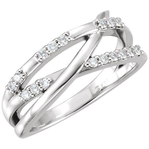 14kt White Gold 1/4 ct Diamond Crossways Ring