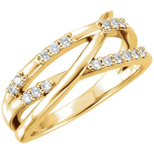 14kt Yellow Gold 1/4 ct Diamond Crossways Ring