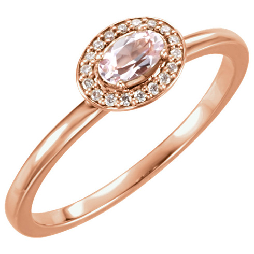 14kt Rose Gold 1/4 ct Morganite & 1/20 ct tw Diamond Ring
