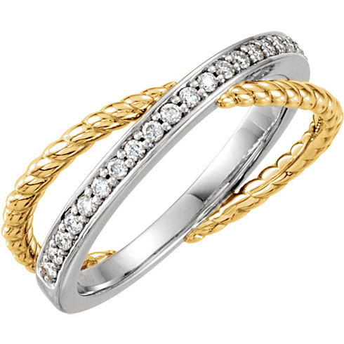 14kt Two-tone Gold 1/5 ct Diamond Channel Ring with Rope Texture