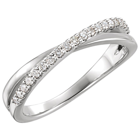 14kt White Gold 1/5 ct Diamond Cross Ribbon Ring