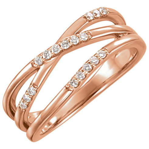 14kt Rose Gold 1/6 ct Diamond Intertwist Ring