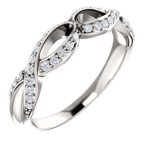 14kt White Gold 3/8 ct Diamond Anniversary Ribbon Ring