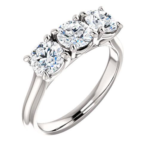 14k White Gold 1.5 ct Forever One Three Stone Moissanite Ring