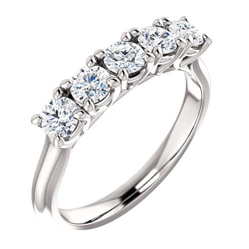 14kt Gold 1.25 ct 5-Stone Forever One Moissanite Anniversary Ring