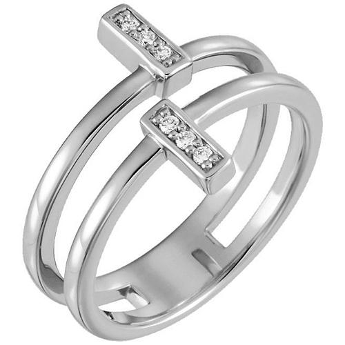 14kt White Gold .06 ct Diamond Bar Duo Ring