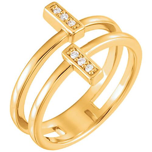 14kt Yellow Gold .06 ct Diamond Bar Duo Ring