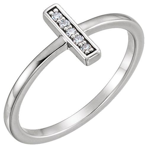 14kt White Gold .05 ct Diamond Bar Ring