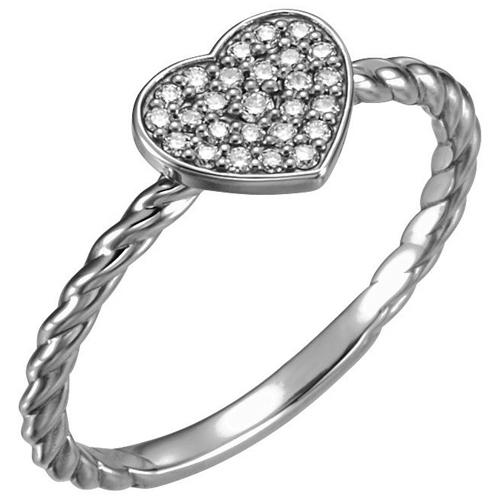 14kt White Gold 1/8 ct Diamond Heart Rope Ring