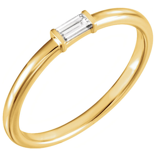 14kt Yellow Gold 1/8 ct Diamond Baguette Stackable Ring