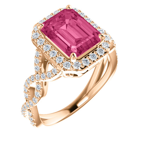 14kt Rose Gold Halo Style 2.85 ct Pink Tourmaline Ring with 1/2 ct Diamonds
