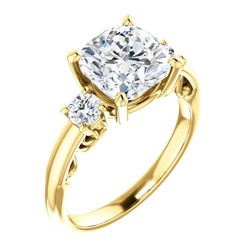 2.68 ct Forever One 3-Stone Cushion Moissanite Ring 14k Yellow Gold
