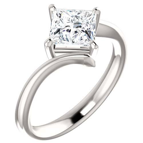 1.36 ct tw Square Forever One Moissanite Kite Ring Platinum
