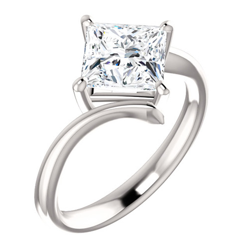 2.1 ct tw Square Forever One Moissanite Kite Ring 14k White Gold