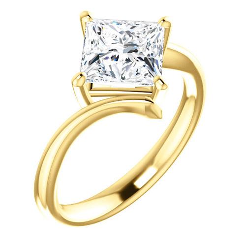 2.1 ct tw Square Forever One Moissanite Kite Ring 14k Yellow Gold