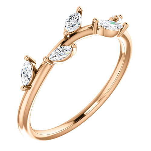 14kt Rose Gold .33 ct tw Diamond Slender Leaf Ring