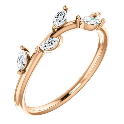 14kt Rose Gold .33 ct tw Diamond Slender Leaf Ring