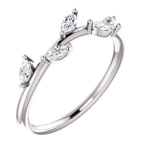 14kt White Gold .33 ct tw Diamond Slender Leaf Ring
