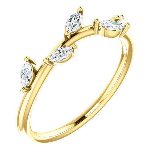 14kt Yellow Gold .33 ct tw Diamond Slender Leaf Ring