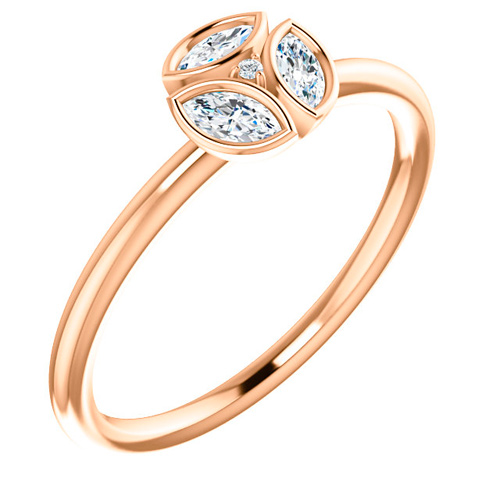 14kt Rose Gold 1/4 ct tw Diamond Floral Cluster Ring