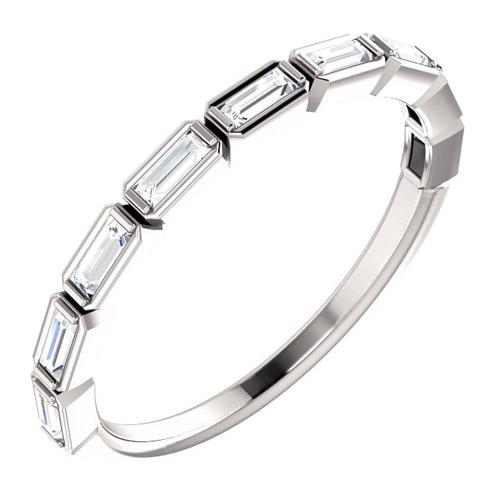 14k White Gold 1/4 ct Diamond Baguette Bezel Ring