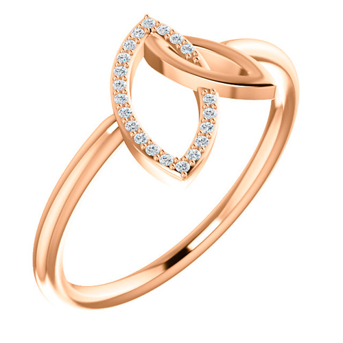 14kt Rose Gold .05 ct Diamond Marquise Shapes Ring