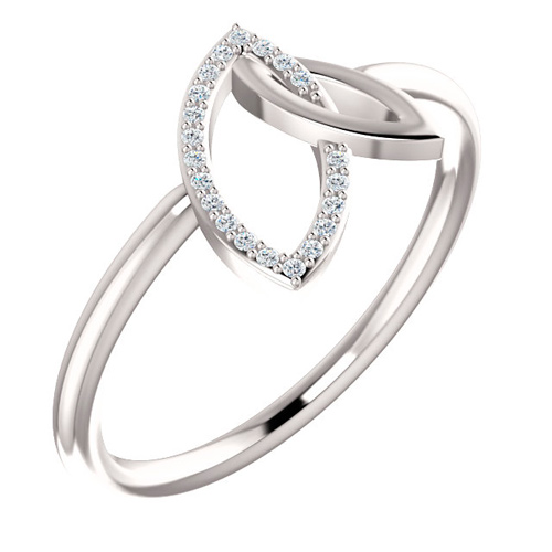 14kt White Gold .05 ct Diamond Marquise Shapes Ring