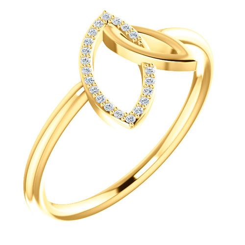 14kt Yellow Gold .05 ct Diamond Marquise Shapes Ring