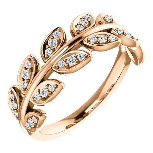 14kt Rose Gold .25 ct tw Diamond Leaf Ring