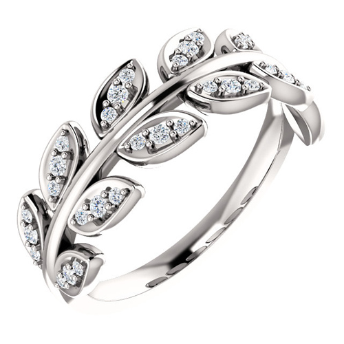 14kt White Gold .25 ct tw Diamond Leaf Ring