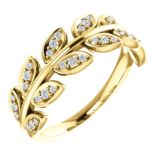 14kt Yellow Gold .25 ct tw Diamond Leaf Ring