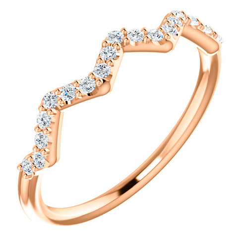 14kt Rose Gold 1/5 ct tw Diamond Stackable Zig Zag Ring