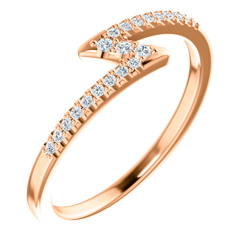 14kt Rose Gold 1/4 ct tw Diamond Stackable Z Ring