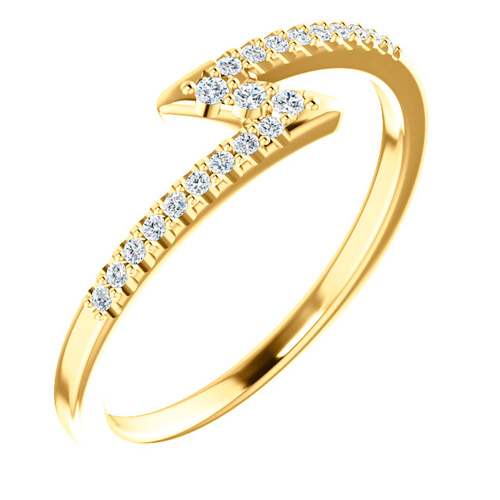14kt Yellow Gold 1/4 ct tw Diamond Stackable Z Ring