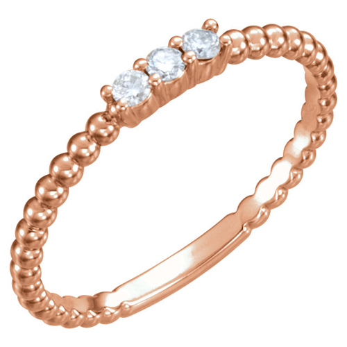 14kt Rose Gold 1/10 ct Diamond Three-Stone Beaded Ring