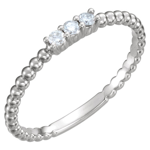 14kt White Gold 1/10 ct Diamond Three-Stone Beaded Ring
