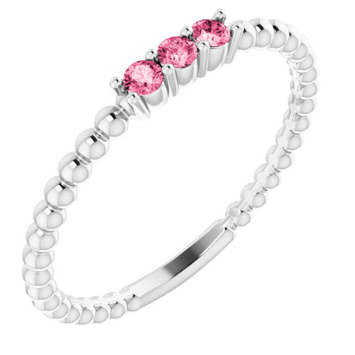 14k White Gold Pink Tourmaline Beaded Stackable Ring