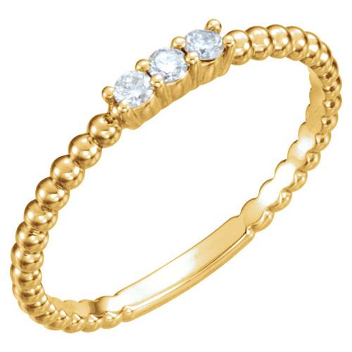 14kt Yellow Gold 1/10 ct Diamond Three-Stone Beaded Ring