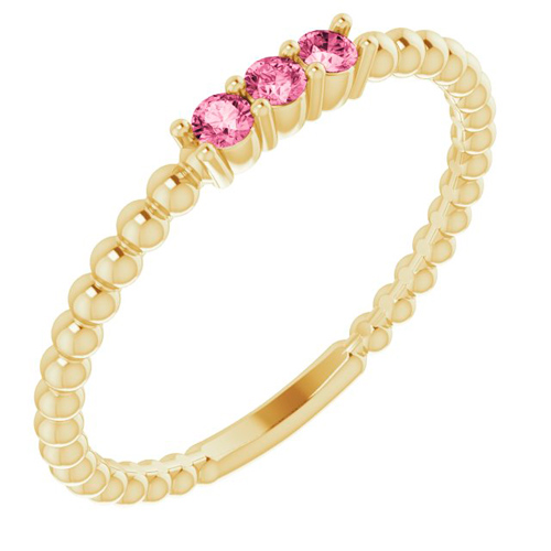 14k Yellow Gold Pink Tourmaline Beaded Stackable Ring