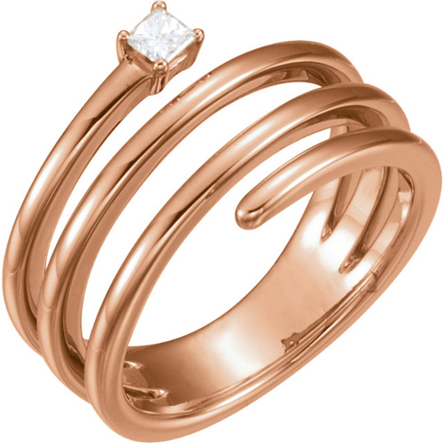 14kt Rose Gold 1/10 ct Diamond Wraparound Spiral Ring