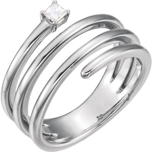 14kt White Gold 1/4 ct Diamond Wraparound Spiral Beaded Ring