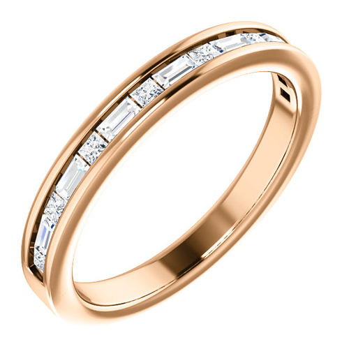 14kt Rose Gold 3/8 ct Diamond Baguette and Princess Anniversary Ring