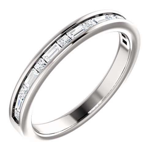 14kt White Gold 3/8 ct Diamond Baguette and Princess Anniversary Ring