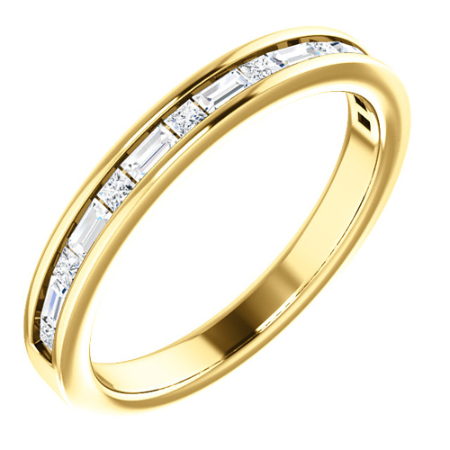 14kt Yellow Gold 3/8 ct Diamond Baguette and Princess Anniversary Ring