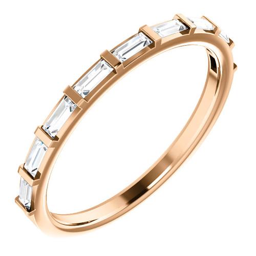14kt Rose Gold 1/4 ct Diamond Straight Baguette Ring