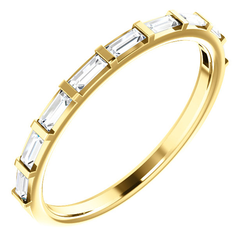 14kt Yellow Gold 1/4 ct Diamond Straight Baguette Ring