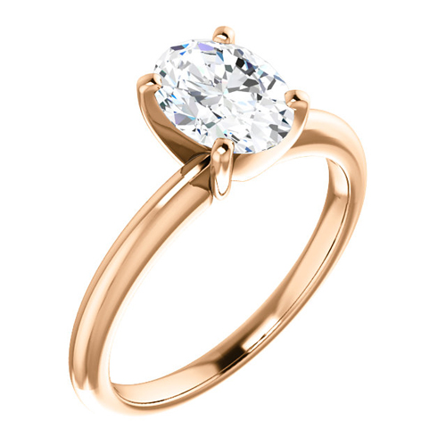 14kt Rose Gold 1.5 CT Forever One Moissanite Oval Solitaire Ring