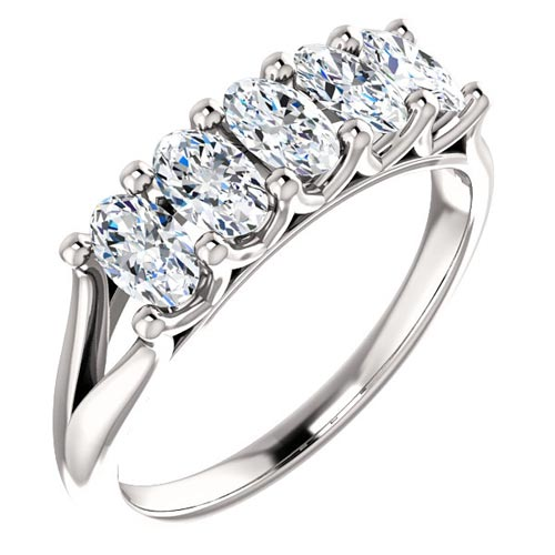 14k White Gold 2.5 ct Forever One Oval Moissanite  Anniversary Ring
