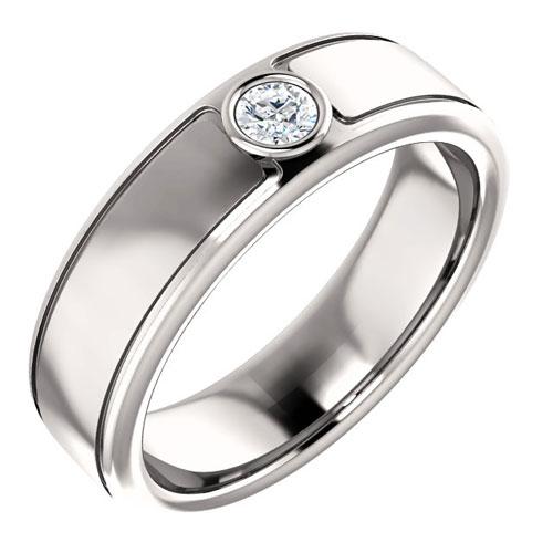 14k White Gold Men's 1/10 ct Diamond Bezel Ring