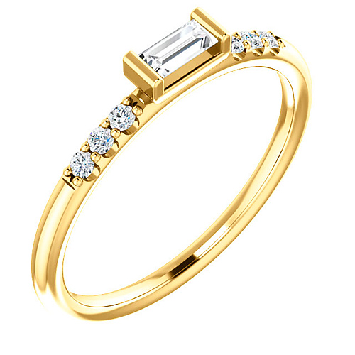 14k Yellow Gold 1/5 ct tw Diamond Baguette Stackable Accented Ring